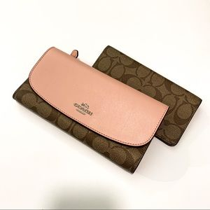 Coach Pink Snap Printed Wallet with Check Book